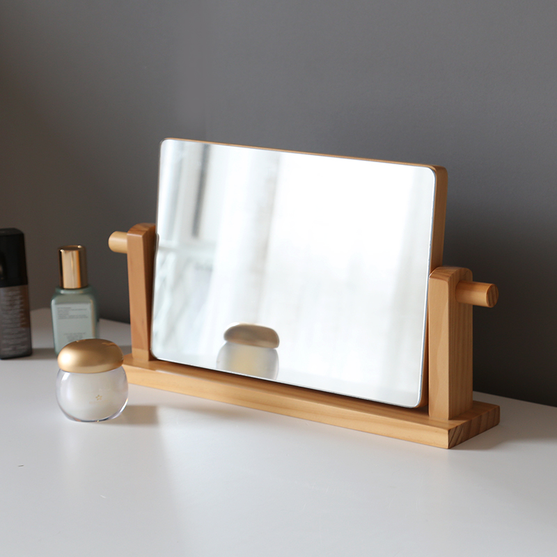 Solid Wood Desktop Makeup Mirror Simple Desktop Vanity