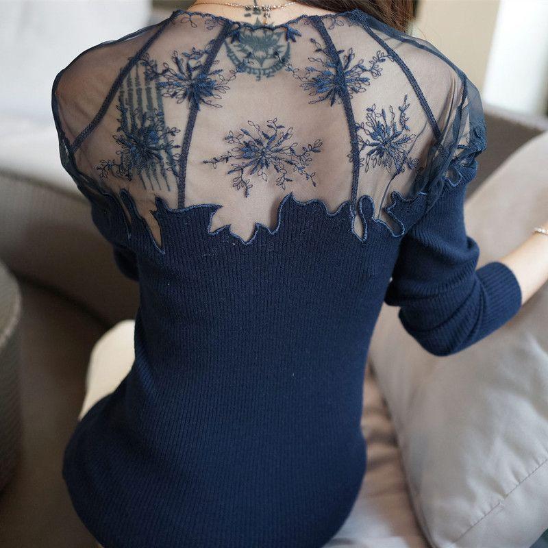 2017 nuevas mujeres de la alta calidad o-cuello bajo de encaje transparente cami