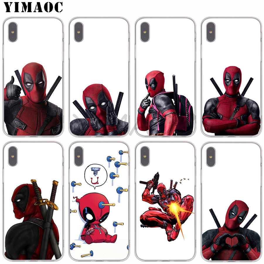 YIMAOC 3D Super Cool Marvel Deadpool Soft Silicone Phone Case for Apple iPhone XS Max XR X 8 7 6S Plus 5S SE TPU Cover marvel glass iphone case