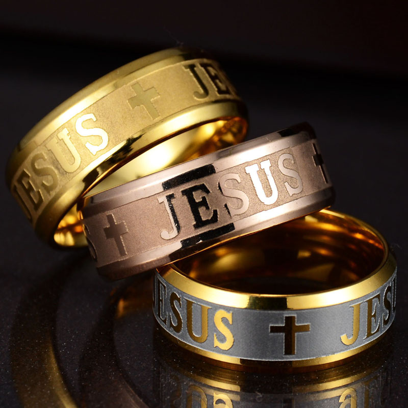 Euramerican Rings For Men Women Jesus Cross stainless steel Luminou Glow In Dark Black Blue Band Ring Wholesale Jewelry