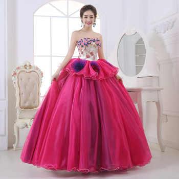Cheap Colorful Organza Colored Wedding Dress 2017 Strapless New Korean Style Pink Princess Bride Boat Gowns vestido de noiva