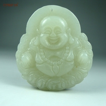 Certified Natural Hetian Jade Nephrite Charm Lucky Buddha Pendant Green White High Quality Hand Carved Wonderful Gifts