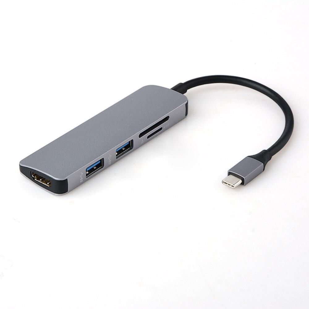 5 em 1-Tipo C Para HDMI USB3.0 USB-C USB C Adaptador Para MacBook Samsung Galaxy S9/S8 huawei P20 Pro Tipo C USB SD/TF Cartão HUB
