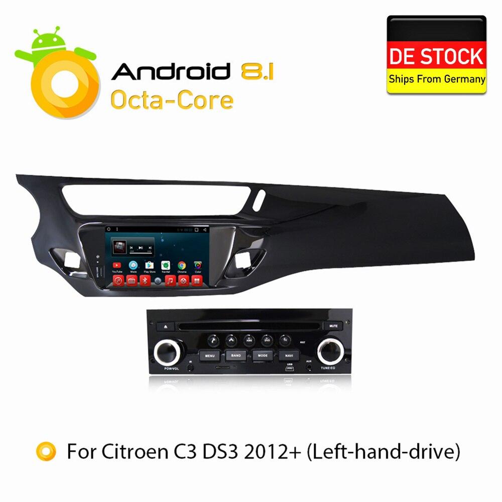 Android 7.1.1 8.1 RAM2G Voiture DVD Stéréo Lecteur GPS Glonass Navigation Multimédia pour Citroen C3 DS3 2010-2016 Auto radio Audio