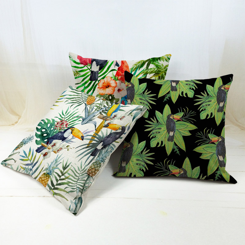 Flamingo Hibiscus Flower Beige Cushion Covers Parrot TropicBird Candy Color Feather Pillow Case Palm Tree Bedroom Decoration