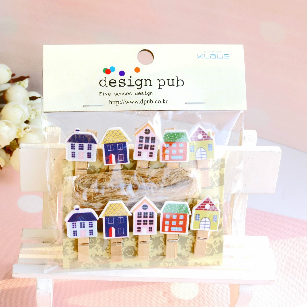 10 Pcs/lot Lovely Little House Wooden Clip Photo Paper Clothespin Craft Clips Party Decoration Clip With Hemp Rope