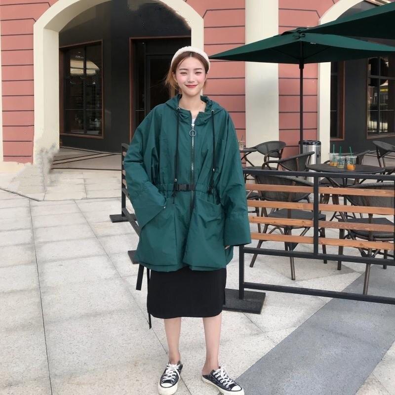 Nouvelles Robe Fermetures Lâche Streetwear vert Noir Manteau Oversize Capuchon Femmes Ceintures Femelle Manteaux Mode Tranchée Bawting De Manches À Glissière 1Tg1qrw