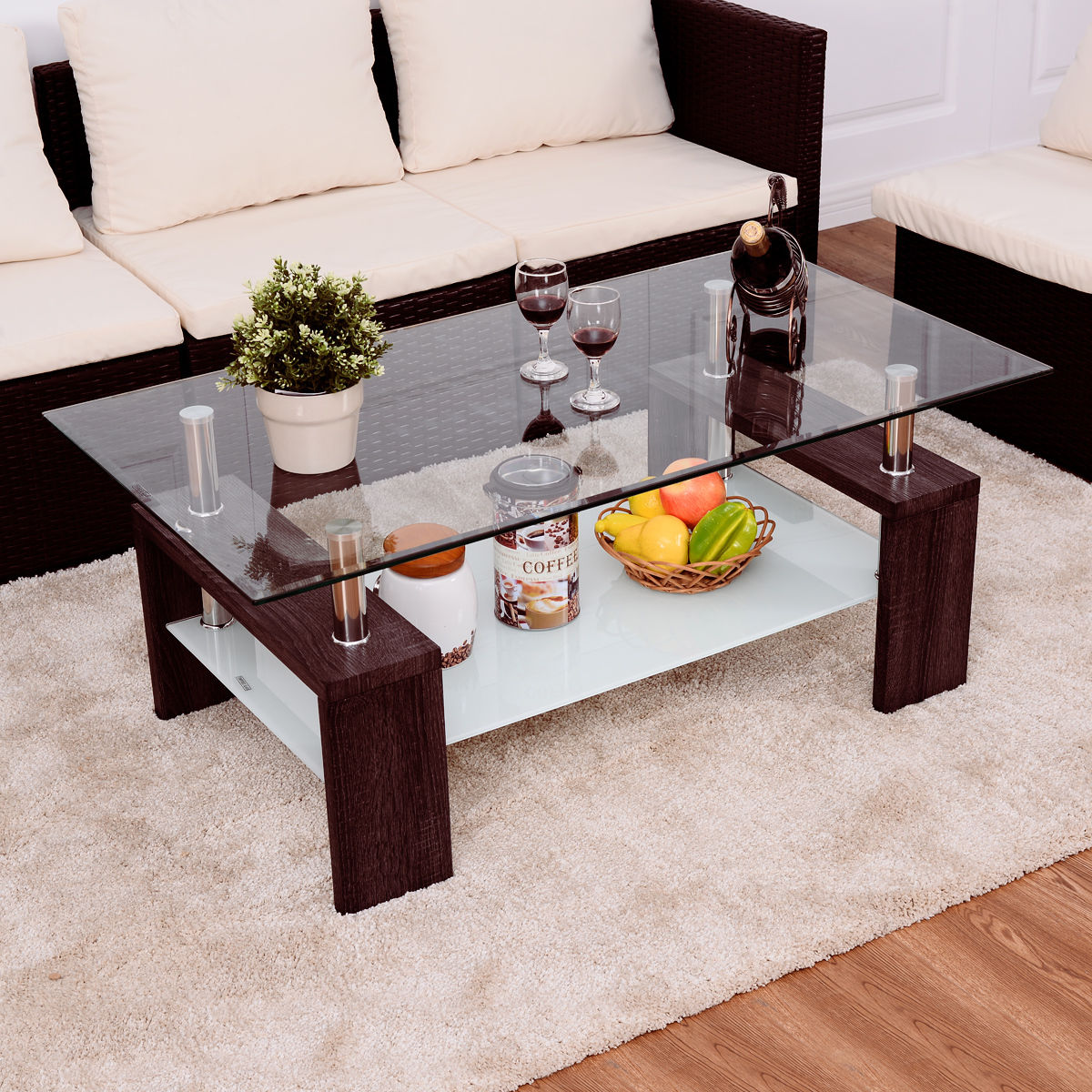 Tempered Glass Coffee Table With Drawers: Giantex Rectangular Tempered Glass Coffee Table With