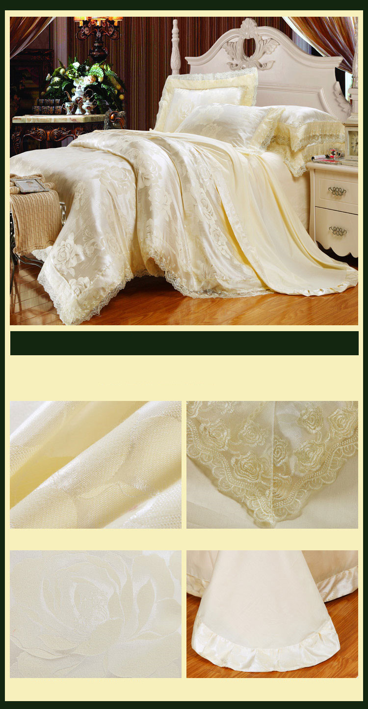 New Luxury Embroidery Tinsel Satin Silk Jacquard Bedding Set, Queen, King Size, 4pcs/6pcs 38