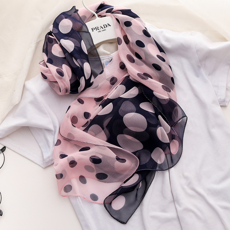Large Polka Dots Scarves Contrast Color Sunscreen Scarves Wraps Women's Fashion 160*50CM