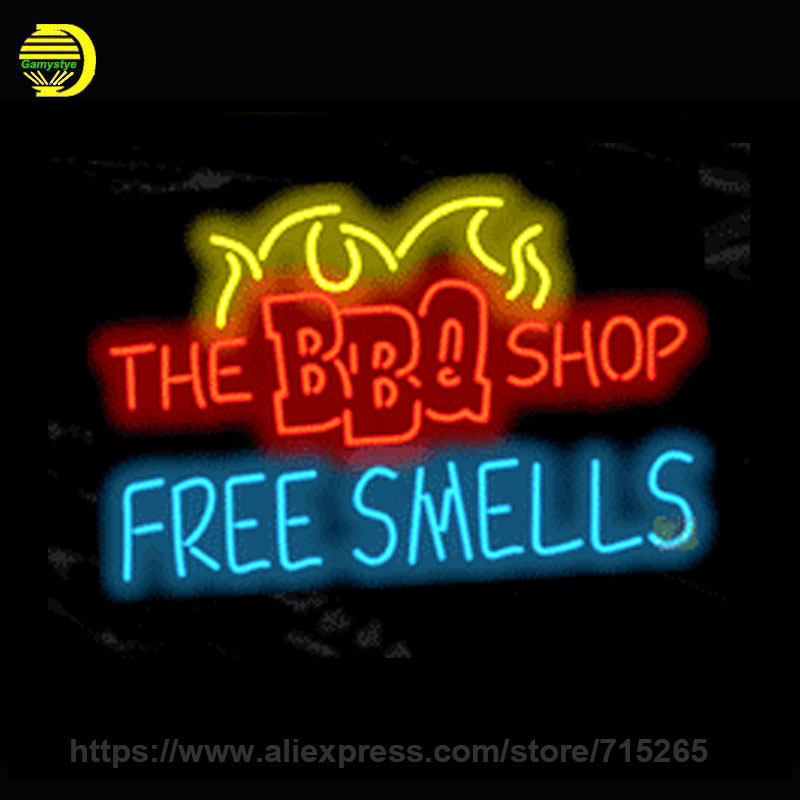 Custom Neon Sign THE BBQ SHOP FREE SMELLS Neon Bulbs Recreation room Real Glass Tube Handcrafted Professional Lamp 24x20 Inch