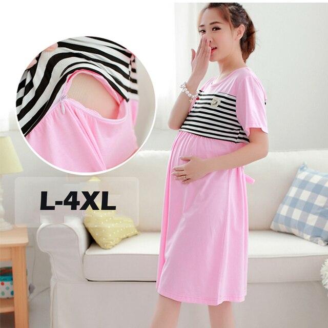 Korean Pregnancy Summer Fashion Maternity Short Sleeve Nursing Dress  Pregnant Women Plus Size Breastfeeding Cotton Dress L-4XL 64cfea77423f