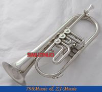 High Grade Silver Nickel 3 Rotary Valves Flugelhorn Bb Keys Horn New case