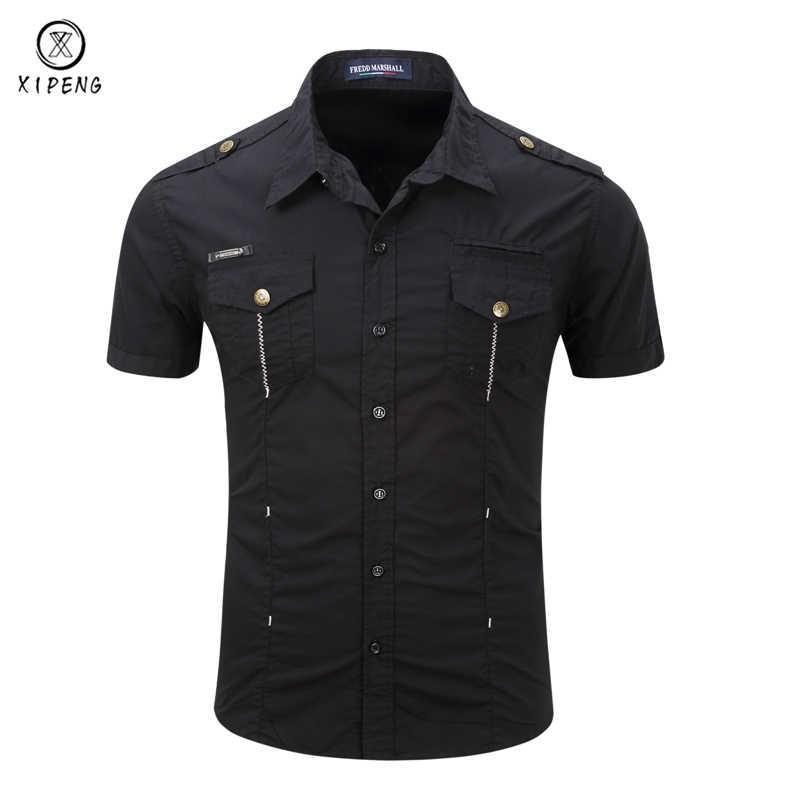 476edcaa18453 New Men Cargo Military Tactical Style Shirts 2018 Summer Short sleeves  Khaki Black Shirt Male Casual