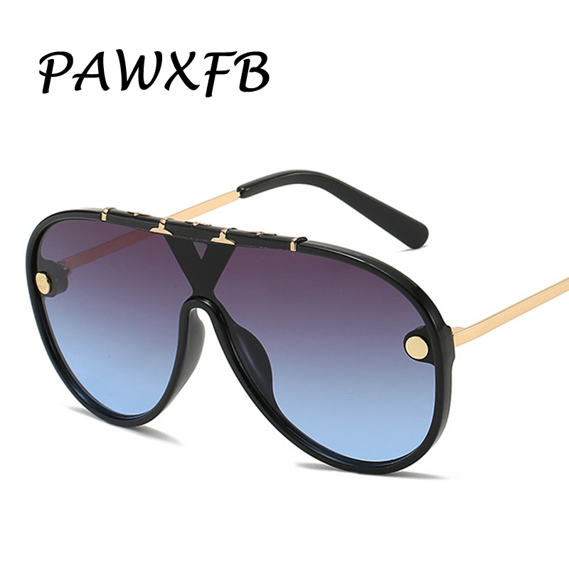 PAWXFB 2019 New Oversized Square Sunglasses Women Luxury Summer Style Gradient Blue Fashion One Piece Shades