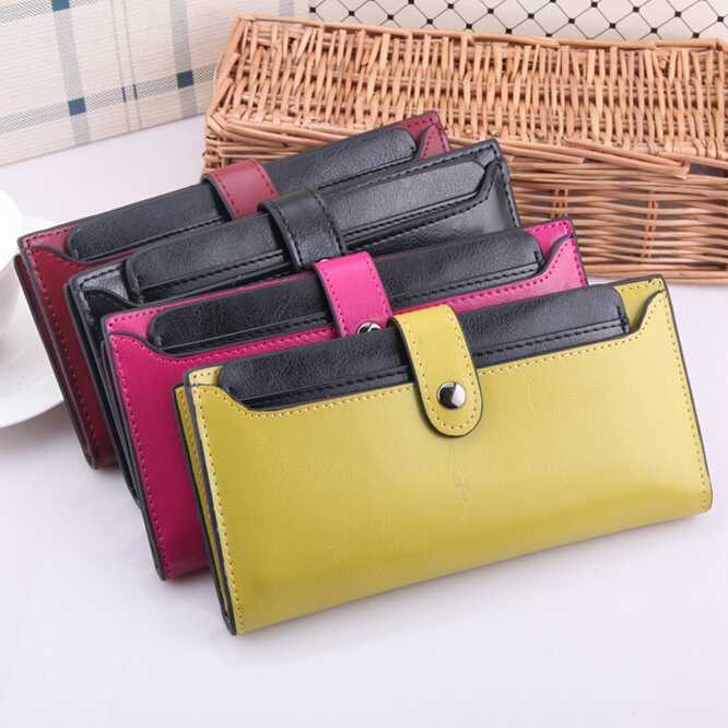 Patent Women Wallet Genuine Leather Hasp Solid Long Style Clutches Card Holders  Drew-String Wallets Lady Change Purse korean style women wallet solid color long pattern wallets hasp large capacity bag lady money purse card holders female wallet