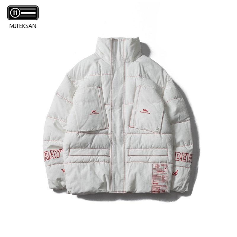 2019 Autumn Winter Men Casual Collar Jackets Men Jacket Male Japan style Pocket Padded Coat Men Parka Plus Size White/Black
