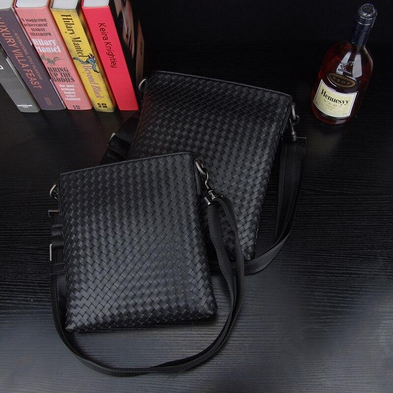 Kaisiludi leather woven men s bag single shoulder bag vertical business cowhide men oblique cross pack