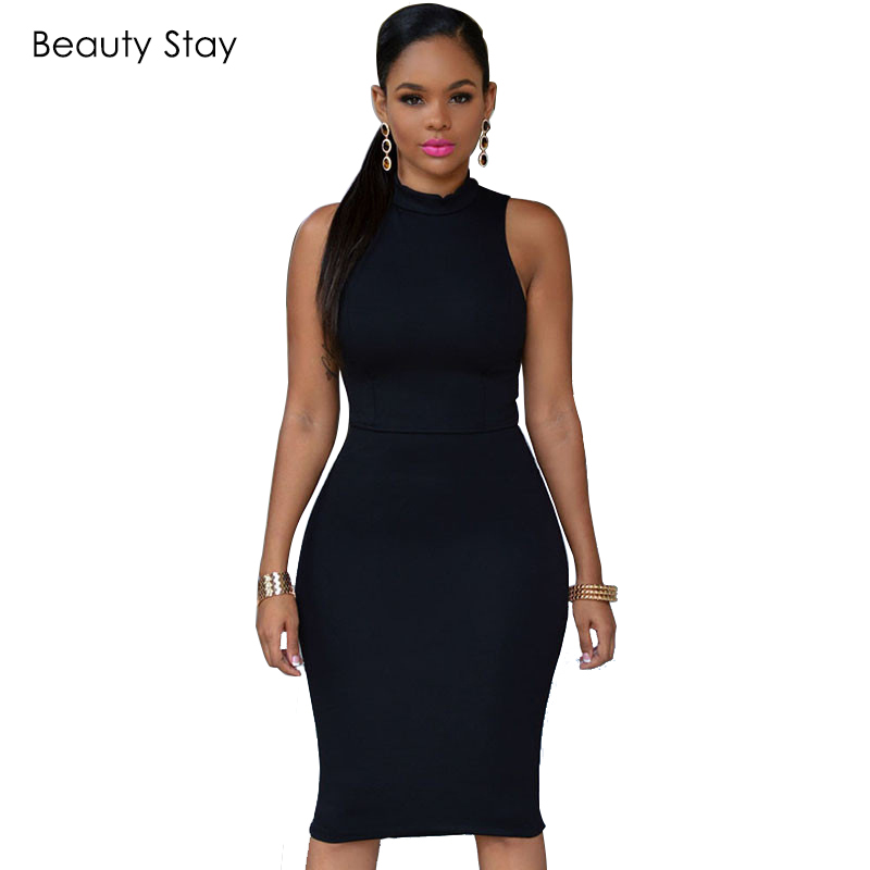 BeautyStay Women Fashion Bodycon Office Pencil Dress Elegant Sheath Backless  High Waist Sexy Night Club Party Formal Dresses-in Dresses from Women s ... a3a5a8ff7af7