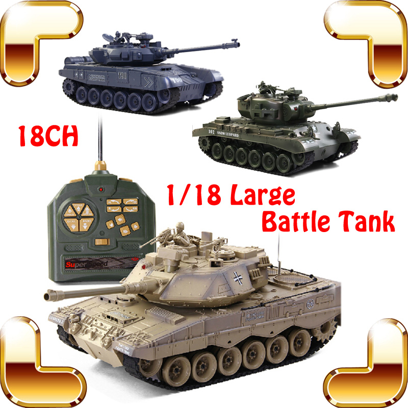 New Coming Gift COLLIDE Battle Tanks 18 Channel 1/18 RC Large Military Tank Electric Remote Control Toys Huge Army Shooting Tank