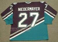 27 Scott Niedermayer Mighty Ducks Jersey Stitched Men Movie Mighty Ducks Hockey Jersey Green Black White