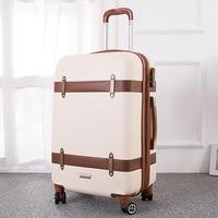 20 24 дюймов женские ретро чемодан милые Spinner ABS Hardside Дорожная сумка на колесах