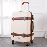 2024inch women retro suitcase cute spinner ABS hardside rolling luggage on wheels