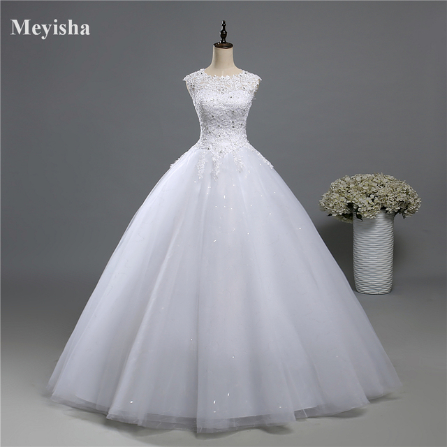 ZJ9139 Ball Gown Real Images Lace Tulle 2020 Wedding Dresses 2019 Dresses Bridal Dress Plus Size Shine Skirt Crystal Beads 1