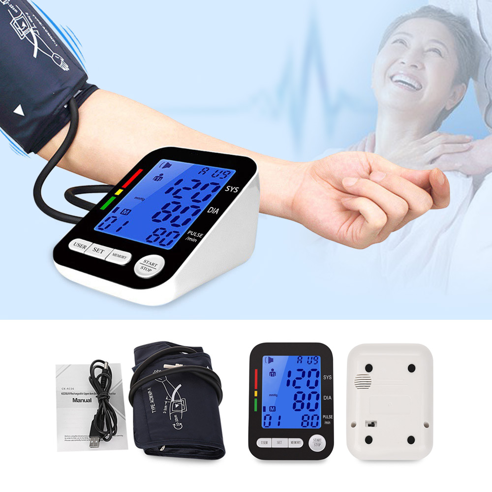 CHANGKUN Professional Upper Arm Blood Pressure Monitor Health Care Automatic Digital LCD Heart Beat Meter Machine Live Voice цены