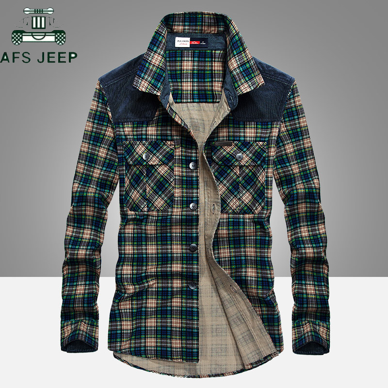AFS JEEP 2018 Spring Autumn Plaid Shirt Men Long Sleeve Turn-down Collar 100% Cotton Mens Shirts Casual Chemise homme Plus Size
