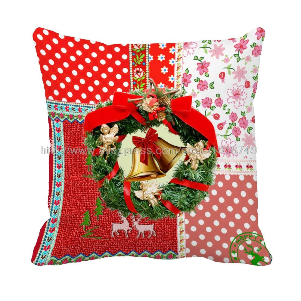 Small Bell Customize Grid Flora Cushion Cover Home Decor Sofa Chair  Decorative Square Red Christmas Cushion