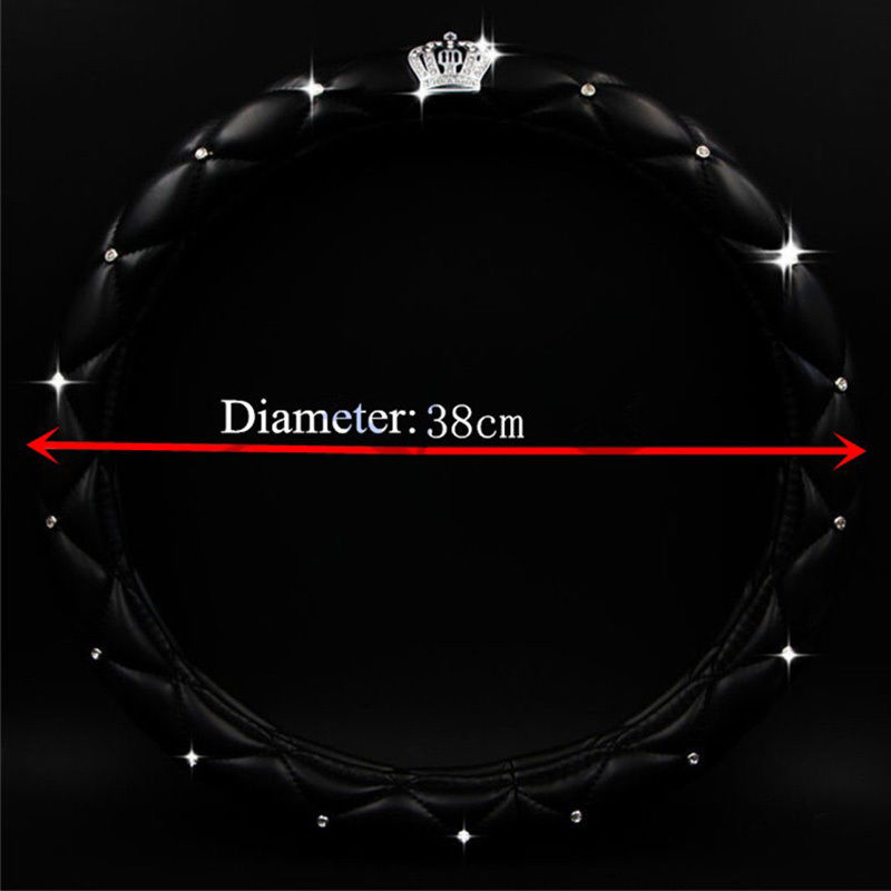 1pc 38cm 15 inch Car Steering Cover Decoration for Girls Women Ladies Leather Diamond Auto Steering Wheel Cover Wrap Protector