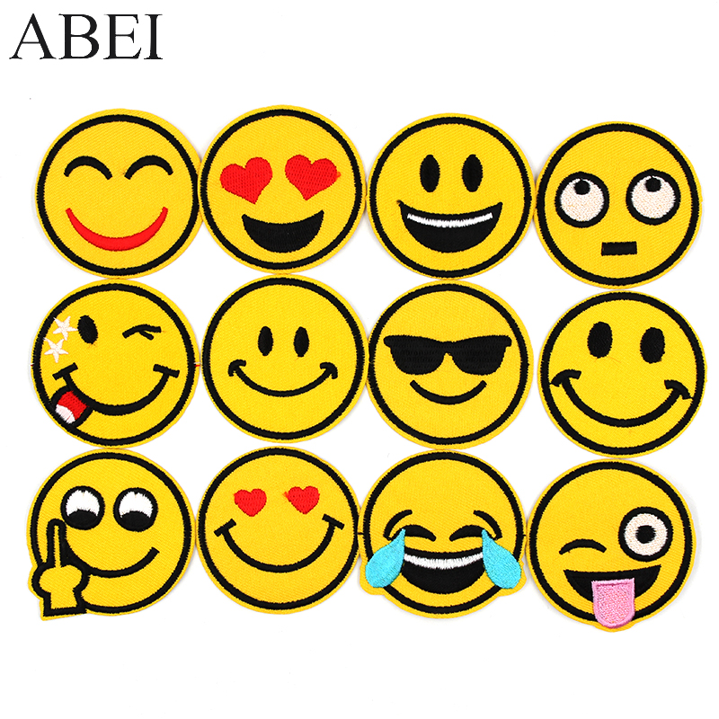 12pcs/set Funny Emoticon Patches Embroidered Iron Emoji Appliques iron on Smile Face Stikcers Sewing Jeans Bags Coats Badge