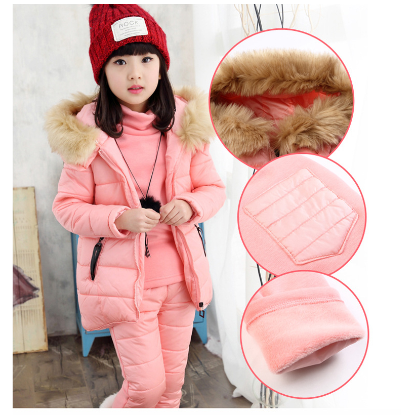 где купить Fashion Winter Children Outfits Tracksuit Girls Clothing Kids Hoodies+Coat+Pants 3pcs Sport Suit Fashion Girls Clothing Sets по лучшей цене