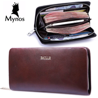 BAILLR Men Wallet High Quality Genuine Leather Vintage Purse Big Capacity Card Holder Money Bank Zipper