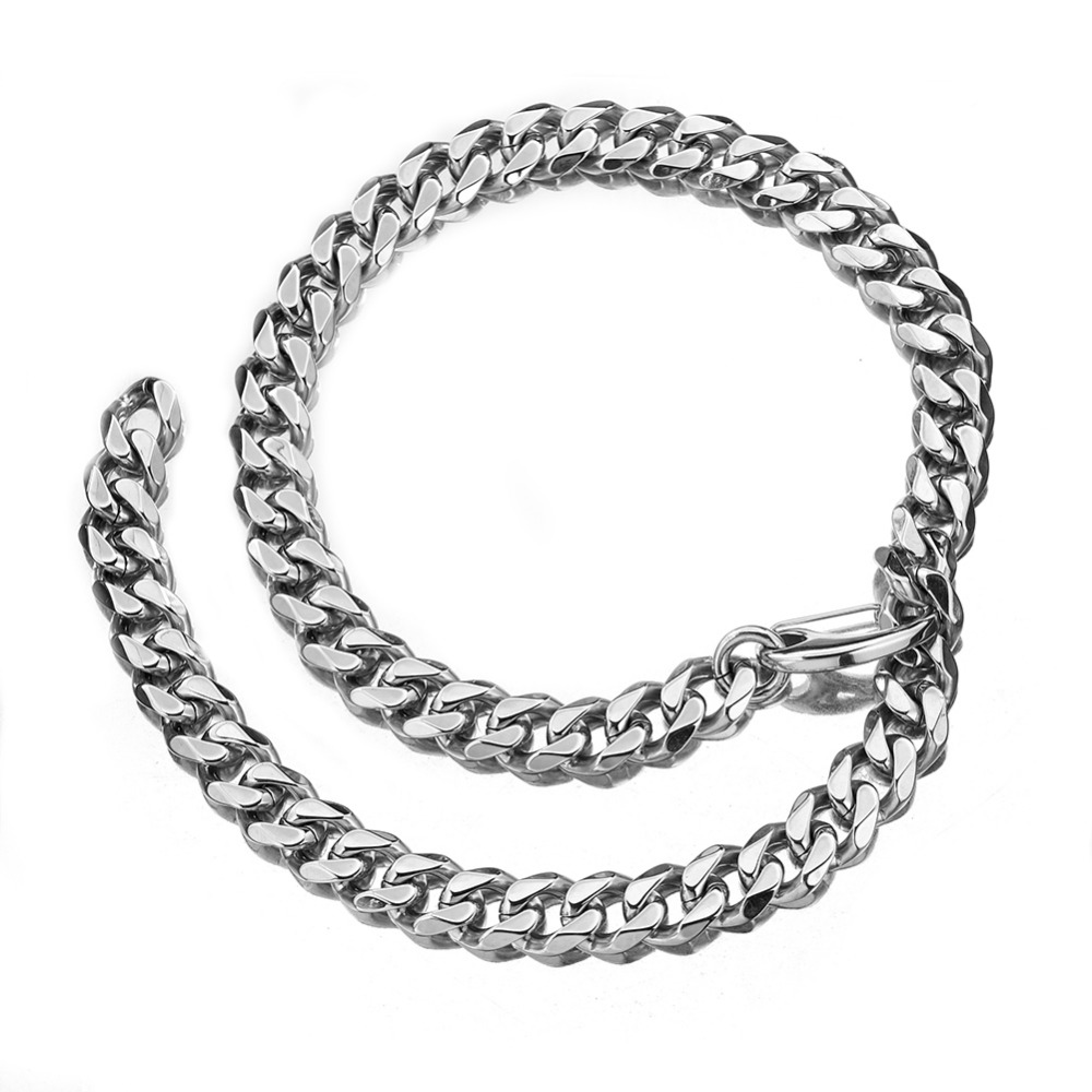 Curb Link Chain Xxxtentacion Adjustable Choker with Tail Hip Hop Rapper Miami Stainless Steel Necklace for Man