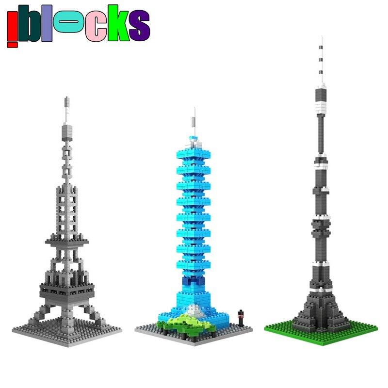 ФОТО world architecture series eiffel tower ostankino tower windmill loz diamond nanoblock 3d diy mini model building blocks toys