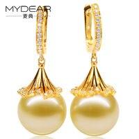 MYDEAR Fine Pearl Jewelry Real Gold Hoop Earrings 11 12mm Natural Golden Southsea Pearls Earrings For Women,2017 New Arrival