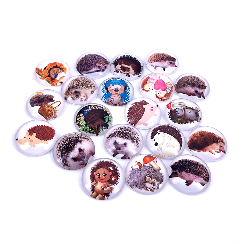 40pcs/lot 10mm 12mm 14mm 16mm Round Hedgehog Pattern Glass Cabochon For DIY Jewelry Making Findings & Components T027
