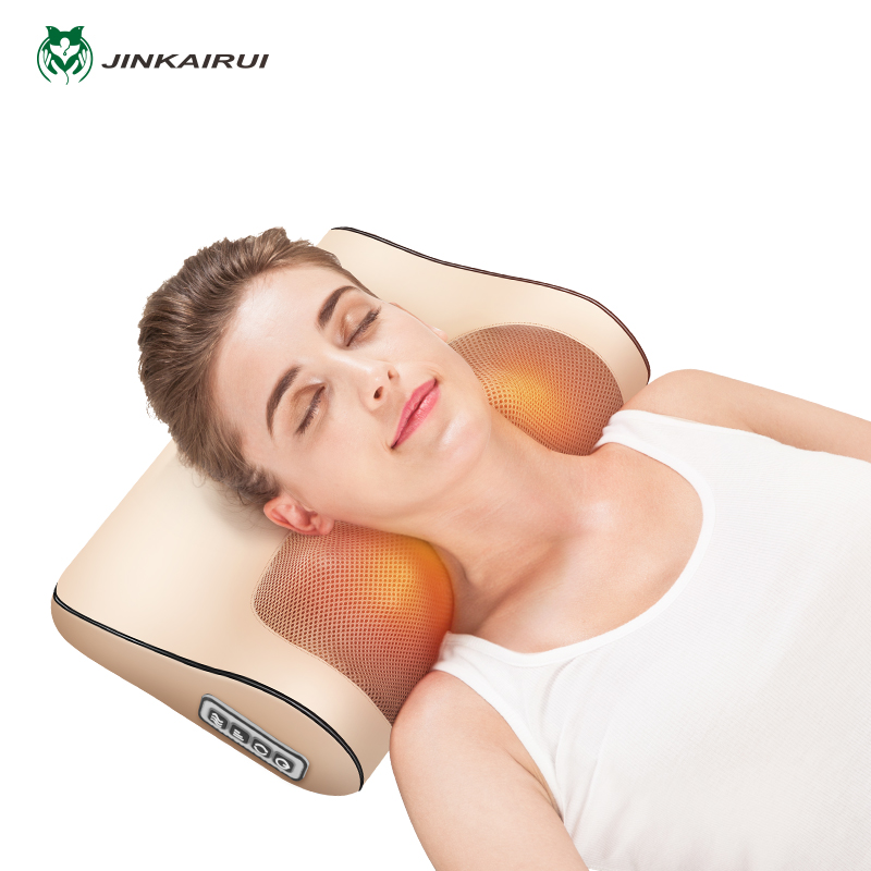 Neck Massager Cervical Shiatsu Massage Pillow Electric Multifunctional Massage Cushion Neck shoulder Body Relax Device household cervical massage device neck multifunctional electric full body cushion car massage pillow for infrared heating