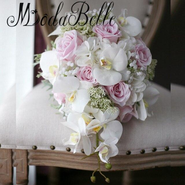 modabelle ivoire rose en cascade de mari e bouquets de mariage roses orchid e artificielle soie. Black Bedroom Furniture Sets. Home Design Ideas