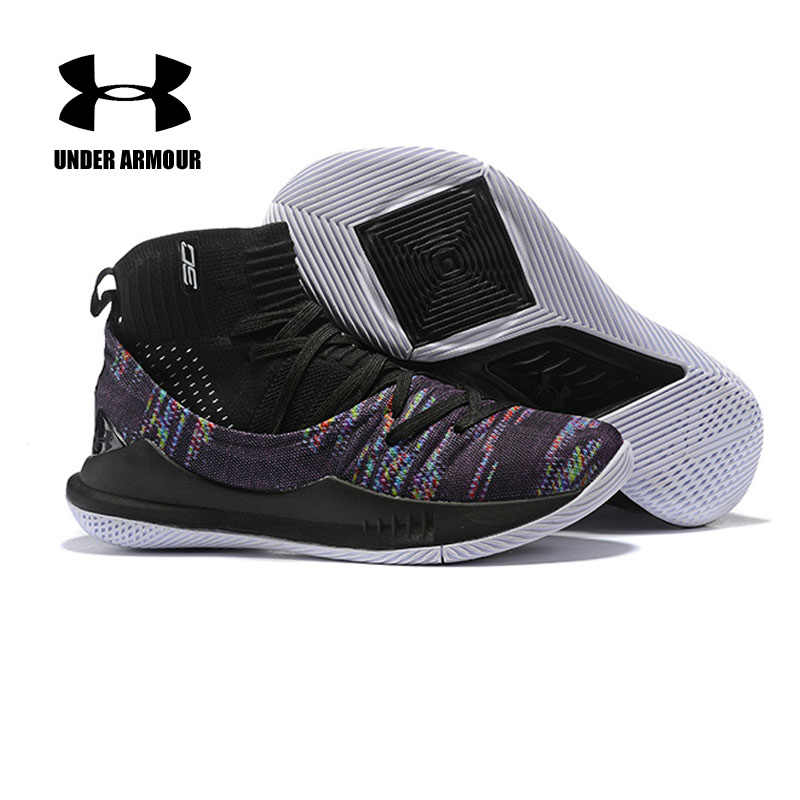bb148293a045 Under Armour Men Curry 5 Basketball Shoes sock Sneakers tenis basketball  Outdoor High Top Cushioning Brand