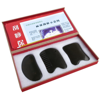 Traditional Massage Tool 5A Bian stone guasha beauty face kit  (2pcskit + 1pcs multifunction comb) 3pcs/set