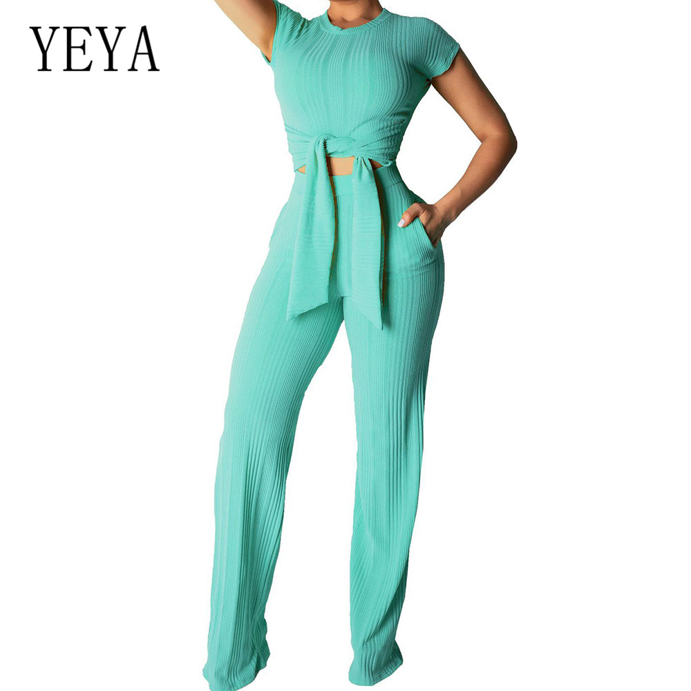 YEYA XXL 2 Piece Set Women Clothes Casual Fitness Crop Top and Pants Sweat Suit Two Festival Summer Outfits Matching Sets