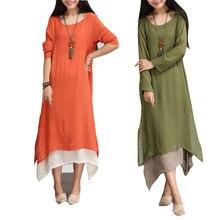 Fashion 2018 Cotton Linen Vintage Dress Summer Autumn Women Casual Loose  Long Maxi Dresses