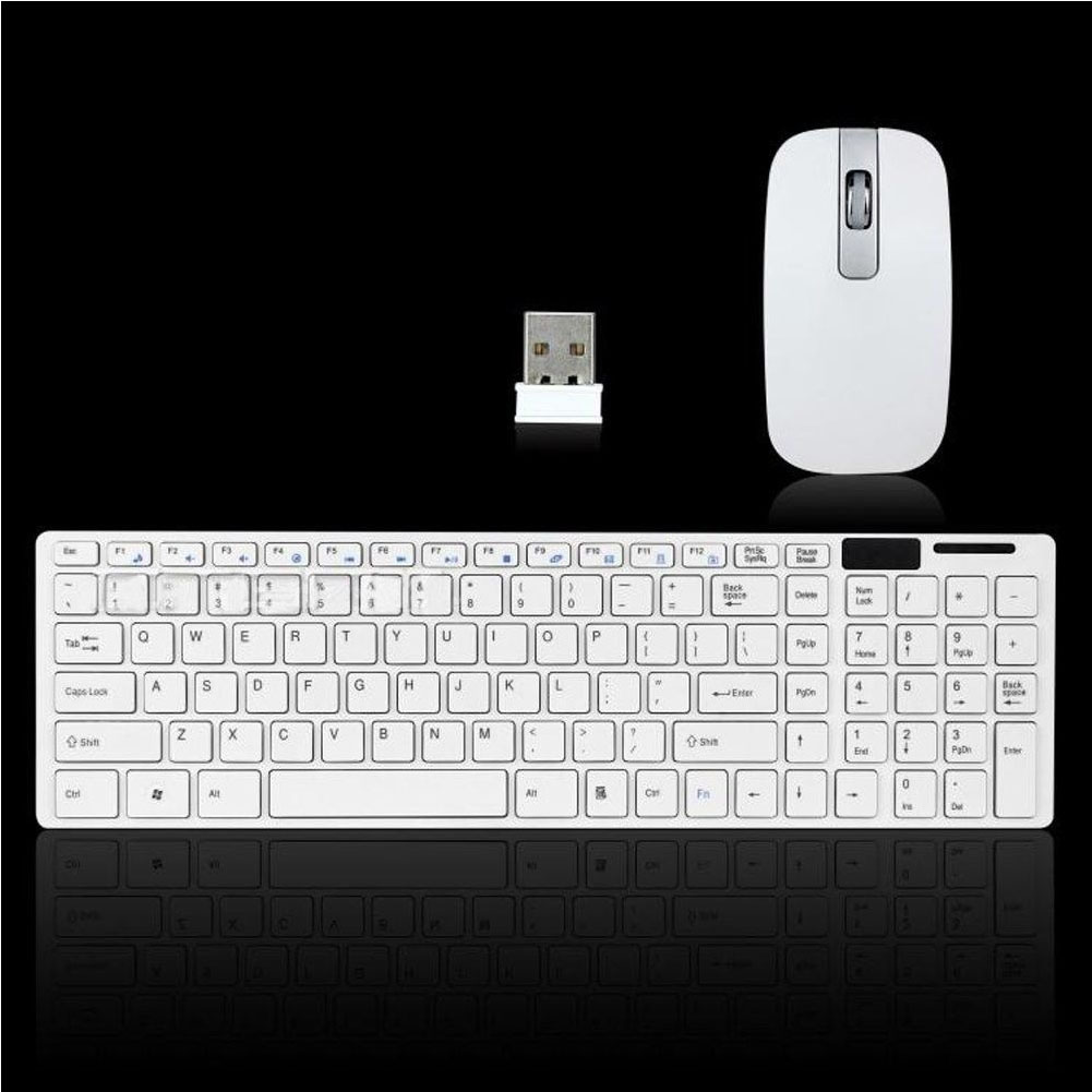 Modern Design Pure White Ultra Thin Design 2.4GHz Wireless Keyboard + Keyboard Cover + USB Receivcer Mouse Kit for Desktop PC