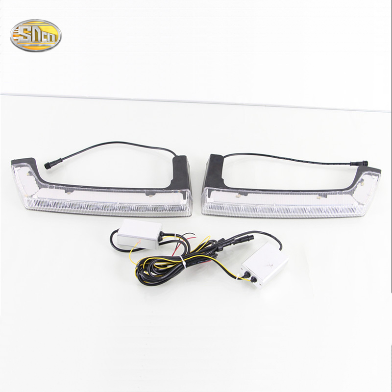 SNCN LED Daytime Running Lights for Jeep Wrangler 2009 2010 2011 2012 2013 2014 2015 DRL front fog lamp driving light hot sale abs chromed front behind fog lamp cover 2pcs set car accessories for volkswagen vw tiguan 2010 2011 2012 2013