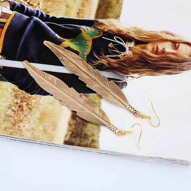 Lzhlq винтажные длинные серьги из ивового листа Женские Модные
