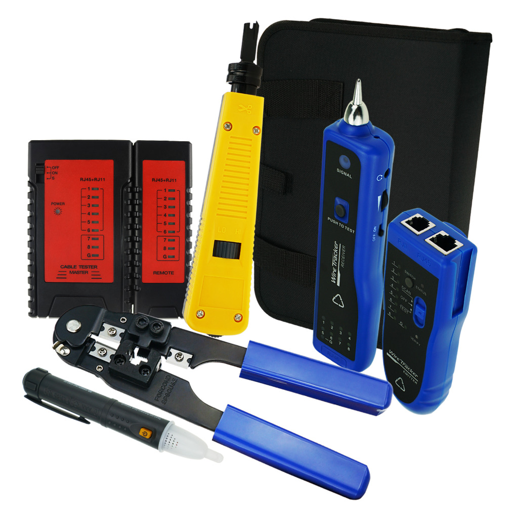 Network Diagnostic Tool Kit Voltage Detector Punch Tool Cable Crimper Crimping RJ45 RJ11 Cable Ethernet Line LAN Wire Tracker network cable testing diagnostic tool kit set rj45 rj11 ethernet lan cable tester voltage detector punch tool wire tracker