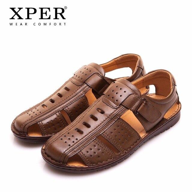גודל גדול 44 45 XPER מותג גברים סנדלי חוף נעלי Fretwork נעלי דייג זכר סגנון רטרו גלדיאטור מקרית הנעלה # YMD86355